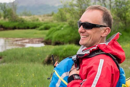 Karl during a River Shiel canoe adventure