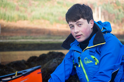 Cameron during a solo canoe trip on Loch Sunart