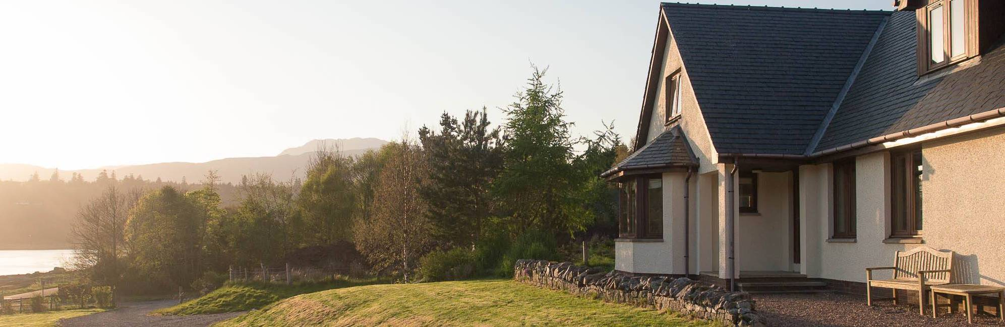 Otterburn bed and breakfast exterior overlooking Loch Sunart